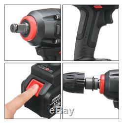 128V Brushless Cordless Impact Wrench Drill Hammer LED Light & 2 Li-ion Battery