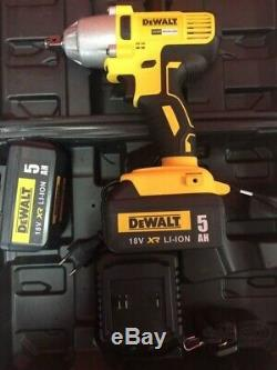 Dewalt DCF 18v XR Brushless High Torque Impact Wrench Hog Ring + 2 x 5.0Ah