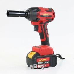 Electric Cordless Brushless Impact Wrench Gun 2X Lithium Battery 1/2'' Drive 21V
