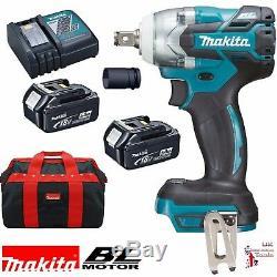 Makita DTW285TX2 18v Li-Ion Brushless LXT 1/2 Impact Wrench Nut Runner 2 5.0Ah