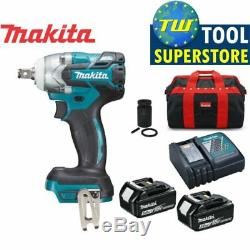 Makita DTW285TX2 Brushless Impact Wrench 2x5.0Ah Batteries Bag & Scaffold Socket