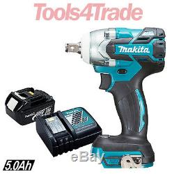 Makita DTW285Z 18V Brushless 1/2 Impact Wrench With 1 x 5.0Ah Battery & Charger
