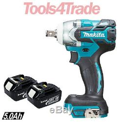 Makita DTW285Z 18V LXT Brushless 1/2in Impact Wrench + 2 x 5Ah BL1850 Batteries