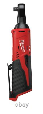 Milwaukee 12v 3/8 Angled Impact Ratchet & 1/4 Adapter M12ir38 Body Only