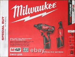 Milwaukee 2401-21R M12 12V Cordless 3/8 In. Cordless Ratchet & Screwdriver Kit