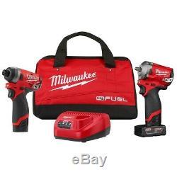 Milwaukee 2599-22 M12 FUEL Auto Kit 3/8 Drive Stubby Impact Gun and Bit Driver