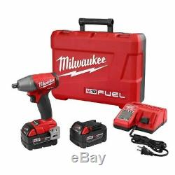 Milwaukee 2755-22 M18 FUEL 1/2 Compact Detent Pin Impact Wrench Kit with(2) 5Ah B