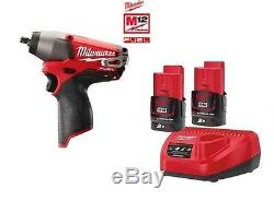 Milwaukee M12CIW38 12v Fuel Brushless Impact Wrench 3/8 2 x 2Ah Bats + Charger