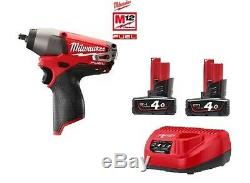 Milwaukee M12CIW38 12v Fuel Brushless Impact Wrench 3/8 2x4Ah Bats + Charger