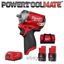 Milwaukee M12FIW38-202B 12v Fuel Impact Wrench Set, with 2 x 2Ah Batts, Charger