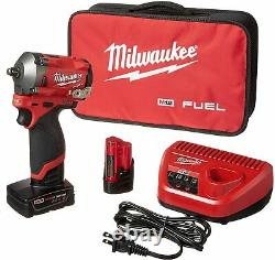 Milwaukee M12 Fuel Stubby 3/8 Impact Wrench Kit with 2 Batteries 2554-22