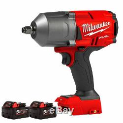 Milwaukee M18FHIWF12-0 18V Brushless 1/2 Impact Wrench With 2 x 5.0Ah Batteries