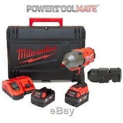 Milwaukee M18ONEFHIWF12-502X FUEL One Key 1/2 Impact Wrench Kit with Rubber Sle