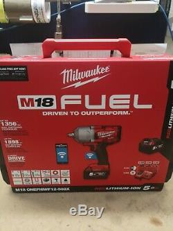 Milwaukee M18ONEFHIWF12-502X FUEL One Key 1/2 Impact Wrench Kit with Rubber Sle