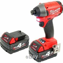 Milwaukee M18 18V Fuel Compact Impact Driver Wrench Screwdriver 2 x 4.0Ah M18CID