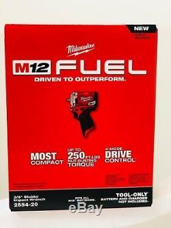 NEW IN BOX Milwaukee 2554-20 M12 Stubby 12V Brushless 3/8 Dr. Impact Driver