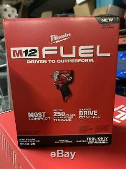 NEW Milwaukee 2554-20 M12 Stubby 12V Brushless 3/8 Impact Wrench Tool Only