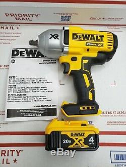 New Dewalt 20 Volt DCF899 Brushless 1/2 Impact Wrench, (1) DCB205 4.0 AH Battery