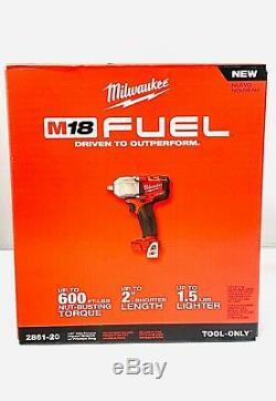 New Milwaukee Fuel M18 2861-20 18V Li-ion 1/2 MidTorque Brushless Impact Wrench