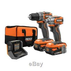 RIDGID 18V Brushless Drill Driver & Impact Driver Set with Battery & Charger P9780