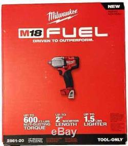 Clé À Chocs À Chocs Neuve Li-ion 1/2 Milwaukee Fuel M18 2861-20 18v + Botte