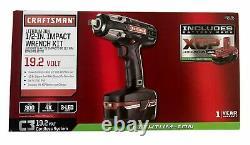 Craftsman 19.2v Volt Cordless 1/2 Impact Wrench Kit Batterie Et Chargeur