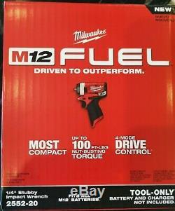Milwaukee 2552-20 M12 Fuel Stubby 1/4 Po. Clé À Chocs Outil Bare
