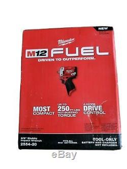 Milwaukee 2554-20 Fuel Sans Balais 3/8 Po. Stubby Clé À Chocs Nouveau (outil Nu)
