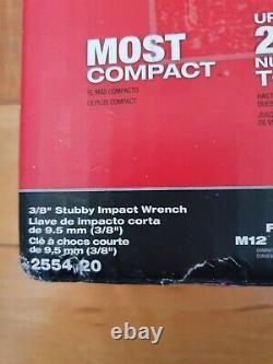 Milwaukee 2554-20 M12 Carburant 3/8 Stubby Outil De Clé D'impact Seulement Nib