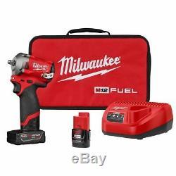 Milwaukee 2554-22 M12 Fuel Stubby 3/8 Clé À Chocs Kit Batteries With4ah & 2ah