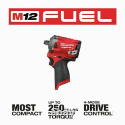 Milwaukee 2555-20 M12 1/2 Conducteur De Carburant Stubby Impact Wrench Bare Outil