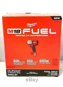Milwaukee 2852-20 M18 Fuel 3/8 Impact De Mi-couple Withfric Anneau (outil Uniquement) Nouveau