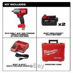 Milwaukee 2852-22 M18 Fuel Mi-couple 3/8 Clé À Chocs Kit (2) Batteries 5ah
