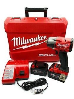 Milwaukee Fuel 1/2 Impact À Mi-torque Avec Détenteur De Pin Deux 5,0 Ah 2962p-22 M18 Nouveau