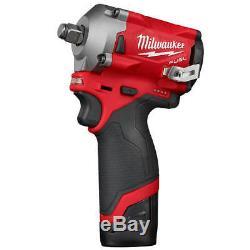 Milwaukee M12 2555-22 12 Volt Fuel 1/2-pouces Sans Fil Stubby Impact Kit Clé