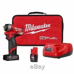 Milwaukee M12 Fuel Stubby 1/4 Clé À Chocs Kit With4ah & 2ah Batteries 2552-22