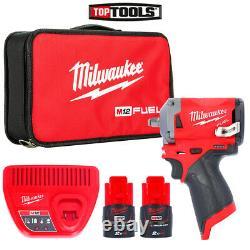 Milwaukee M12fiw38-202b 12v Fuel 3/8 Clé D'impact + 2 X M12b2, Chargeur Et Sac
