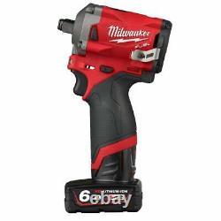 Milwaukee M12fiwf12-622x 12v Cordless 1/2 Impact Wrench Kit 2 Batteries, Au Cas Où