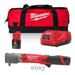 Milwaukee M12fraiwf38-202b Fuel 3/8 Clé D'impact D'angle Droit, 2 X 2ah Batteri