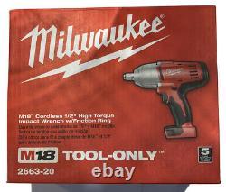 Milwaukee M18 2663-20 1/2 Clé À Chocs Withfriction Anneau Nouveau Dans Seulement Outil