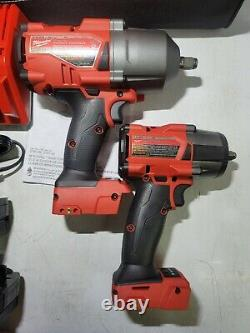 Milwaukee M18 Fuel 3/8 + 1/2 Dr High Torque Impact Wrench Combo Kit #2988-22