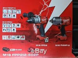 Milwaukee M18fpp2i2-502p 18v Clé À Chocs Carburant + Marteau Perforateur C / W 2x5ah Batterie