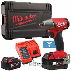 Milwaukee M18oneiwf12-502x Clé À Choc 18 V Avec Chargeur De Batterie Et Étui 2 X 5 Ah