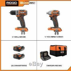 Ridgid 18v Brushless Drill Pilote Et L'impact Ensemble De Pilotes Avec Batterie Et Chargeur P9780